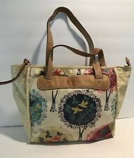 FOSSIL KEY Canvas Coated Zip Top Shopper Tote Bird Design