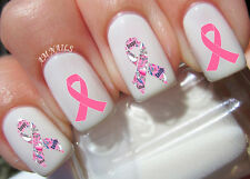 Breast Cancer Ribbon Nail Art Stickers Transfers Decals Set of 40