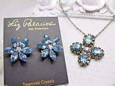 Liz Palacios Aquamarine color Swarovski elements necklace and earrings set NEW