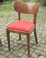 kultiger 50er Jahre Wohnzimmer Stuhl m. rotem Sitzpolster, vintage old Chair