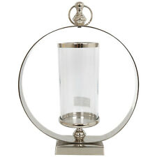 Contemporary Aluminium Ring Glass Hurricane Lamp Lantern Votive Candle Holder
