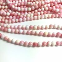 """15.5""""  - Natural Pink Queen Conch Shell Round Beads 6mm HQ, NEW DIY Design Rare"""