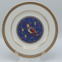 "MIKASA 12 DAYS OF CHRISTMAS 1999 PARTRIDGE IN A PEAR  TREE PLATE 8"" GOLD RIM NEW"