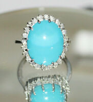 2.00 Carat Oval Cut TURQUOISE & Diamond Ring 14K White Gold Over Ring Band