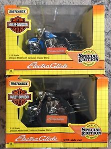 MATCHBOX HARLEY DAVIDSON MOTORCYCLE LOT (2) ELECTRAGLIDE & WITH SIDECAR MIB NEW