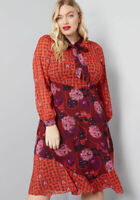 MODCLOTH  X ANNA SUI DRESS  UNFORGETTABLE FLAIR A-LINE RED MULTI  22