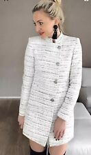 Zara Texured Tweed Frock Coat Long Blazer Jackat Size M UK 12 Bnwt