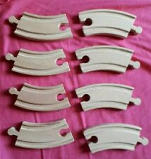 Wooden Railway - 8 Pieces of curved track - USED