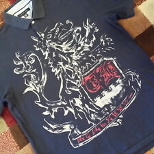 TOMMY HILFIGER Men's Navy Blue Lion Crest Logo Polo Size XL