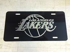 LA LAKERS Logo Car Tag Diamond Etched on Black Aluminum License Plate