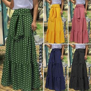 Women Retro Floral High Waist Maxi Skirt Summer Holiday Beach Casual Loose Dress