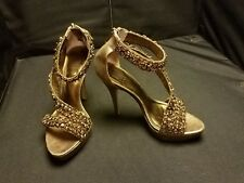NWOB~ Pelle Moda ~ Women's 6 Med~ Gold Embellished Platform High Heel Sandals