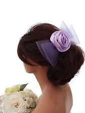 Lilac Large Mesh Bow Satin Rosette Hair Comb Slide Fascinator Bridesmaid