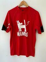 MAMBO Mens Red Swimming Rashie Top Farting Dog Swim Wear Size Large