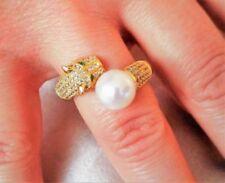 Anelli di lusso con perle bianche in argento sterling zircone