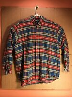 Ralph Lauren Men's Large Button-Down Plaid Shirt The Big Oxford