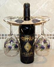 Handpainted Wood Wine Butler/Holder with 2 Matching Glasses, Purple Grape Design