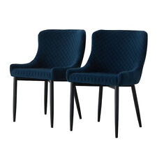 More details for set of 2 luxury velvet dining chairs fabric soft padded bucket seat metal legs