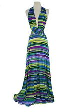 VON VONNI Womens Purple Green Stripe Transformer Dress Long One Size VVL101 $120
