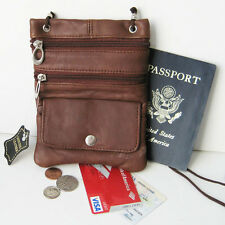 Brown Leather Passport ID Holder Neck Pouch Travel Cross Body Strap Bag