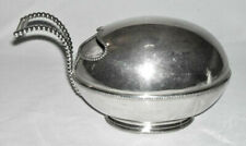 Early Silverplate Egg-Shaped SPOON WARMER w/Beaded Trim
