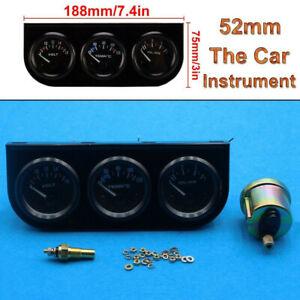 2″/52mm Car Auto Face Triple Gauge Set Oil Pressure Water Temp Volt Meter Black