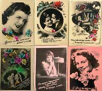 1950s Vintage Postcard Lovely Girls Photo postcards Set 6 pcs