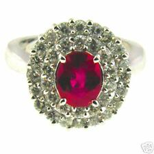 Ruby and Diamond Ring 14 KT White Gold
