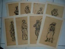SOLDATS DE LA GRANDE GUERRE  - 1915 -  Signé  - Lot 8 Lithographie