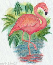 FLAMINGO IN WATERCOLOR SET OF 2 BATH HAND TOWELS EMBROIDERED  BY LAURA