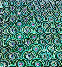 PEACOCK SEQUINED FABRIC~EXQUISITE COLOURS~ BY THE 1/2 METRE ~NON STRETCH