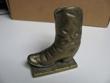 VINTAGE SOLID BRASS COWBOY BOOT - Paperweight / Pen Holder - Heavy Weight