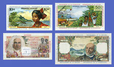 ANTILLES - Lots of 4 notes - 1-->100 Nouveaux Francs - Reproductions