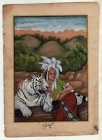 Indian Miniature Painting White Tiger With Women On Old Paper Home Decorative