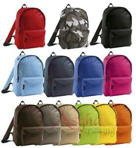 Men Boys Girls SOL'S Padded Backpack Rider Plain School Bag Travel Laptop Work