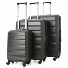 "LIGHTWEIGHT 4 WHEEL HARD SHELL LUGGAGE SUITCASE TROLLEY 21"" 25"" 29"" CHARCOAL"
