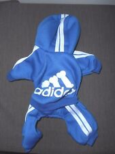Scheppend Adidog Blue Hoodie One Piece Outfit for Dog New/No Tag SIZE S