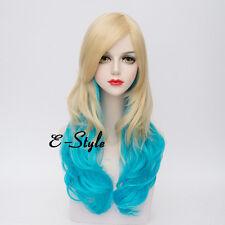 65CM Blonde Mixed Cool Blue Lolita Fashion Long Curly Women Ladies Cosplay Wig