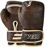 VELO Boxing Gloves Leather Gel Fight Punch Bag Muay thai MMA Kickboxing Sparring