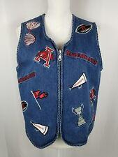 Arkansas Razorback NCAA football Jean Vest Denim Size L College Sports Womens
