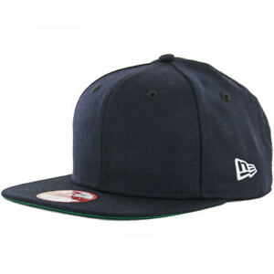 """New Era 9Fifty """"Plain Blank"""" Snapback (Navy) Original Uniform Solid Color Cap"""