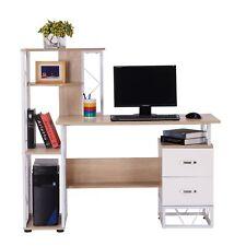 HOMCOM Mesa de Ordenador PC +Estantería Escritorio Oficina Escuela 133x55x123cm