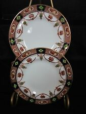 ULTRA RARE PAIR OF BREAD BUTTER PLATES ARKLOW ALTON RUST COBALT GOLD FLORAL SWAG