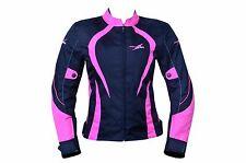 Womens Motorcycle Motorbike Jacket Waterproof Textile Pink/Red Armoured