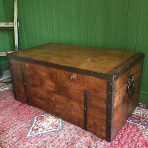 ANTIQUE Victorian Campaign CHEST Old Rustic Pine Colonial TRUNK Zinc Lining +Key