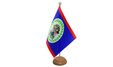 Belize Small Table Flag with Wooden Stand