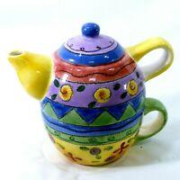 Sango The Sweet Shoppe by Sue Zipkin 3 Piece Nested Teapot Lid & Cup Tea Pot