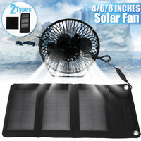 4/6/8 Inch USB Solar Panel Iron Fan Powered For Outdoor Home Cooling Cooler Fan