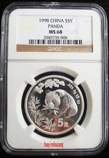 1998 1/2oz silver panda coin NGC MS68