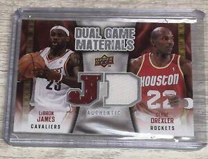 2009-10 Upper Deck LeBron James Clyde Drexler Dual Game Materials Jersey Q